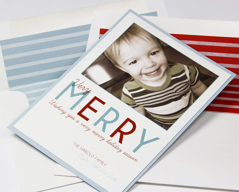 Red and blue layered photo holiday cards made with Gmund papers