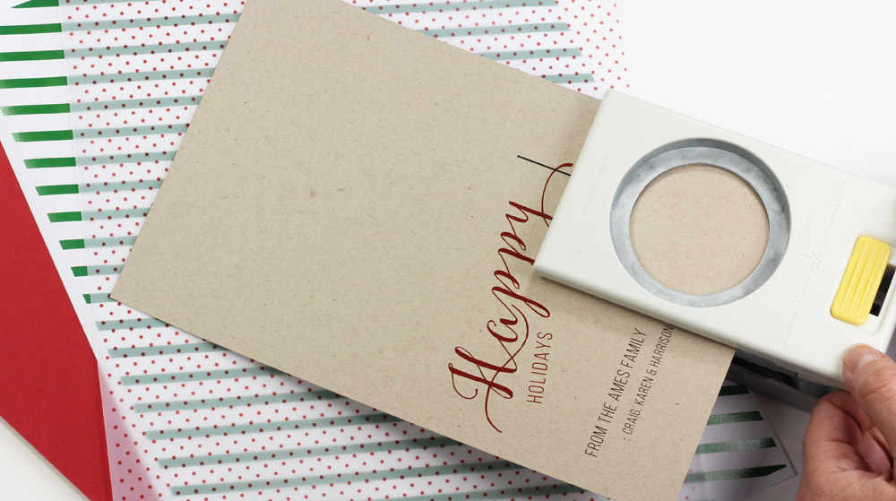 Use a circle punch to create an ornament on a holiday card