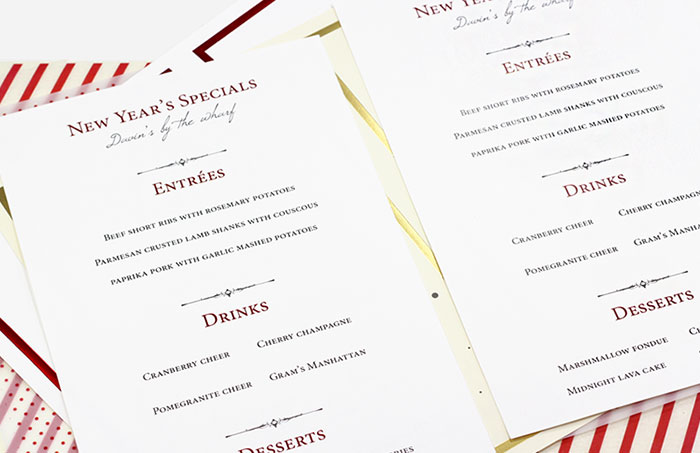 Easy print, micro-perforated cards for holiday special menus