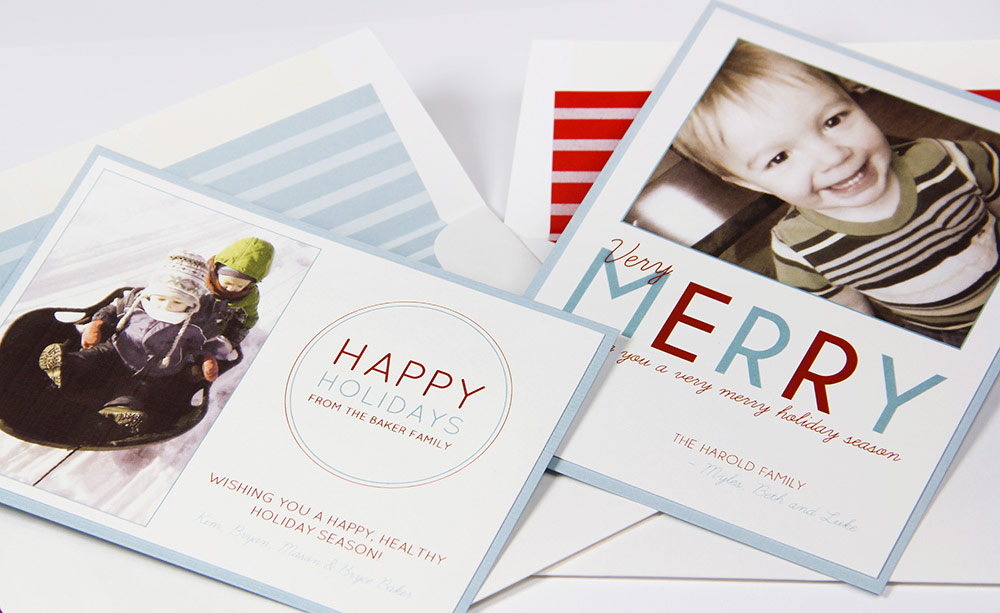 Red, white and blue photo holiday cards made by LCI Paper