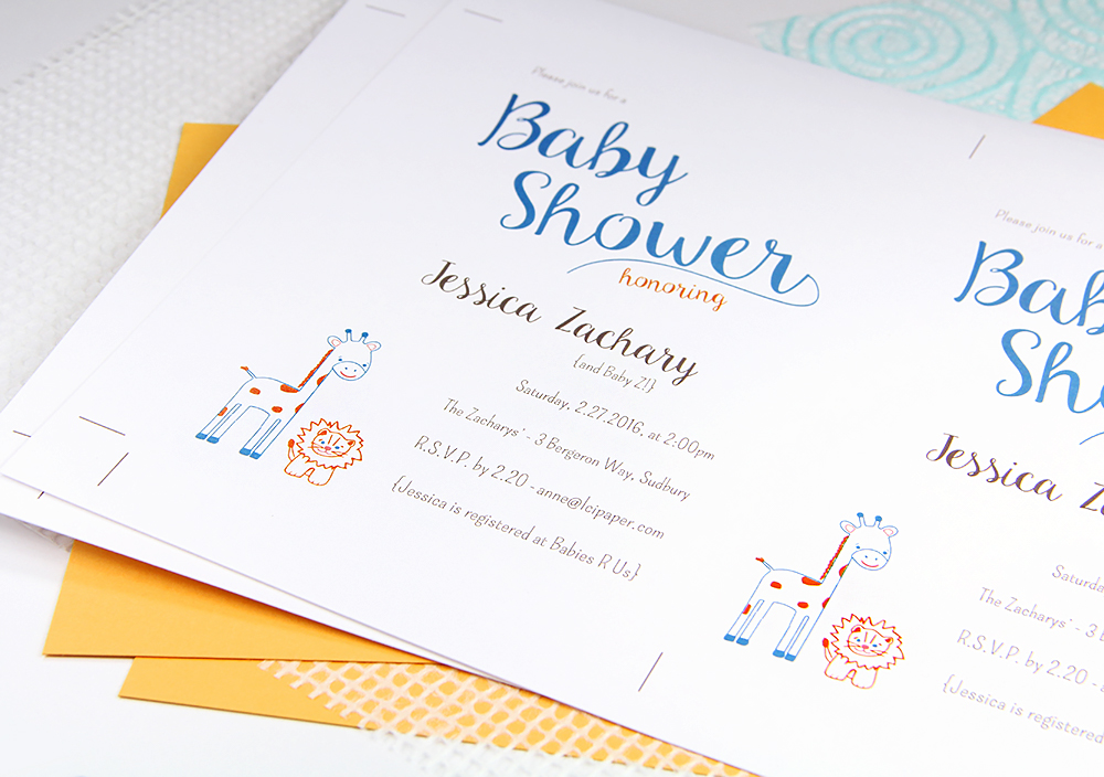 DIY baby shower invite by LCI Paper featured in Craft Ideas Magazine - print on 8 1/2 x 11 card stock