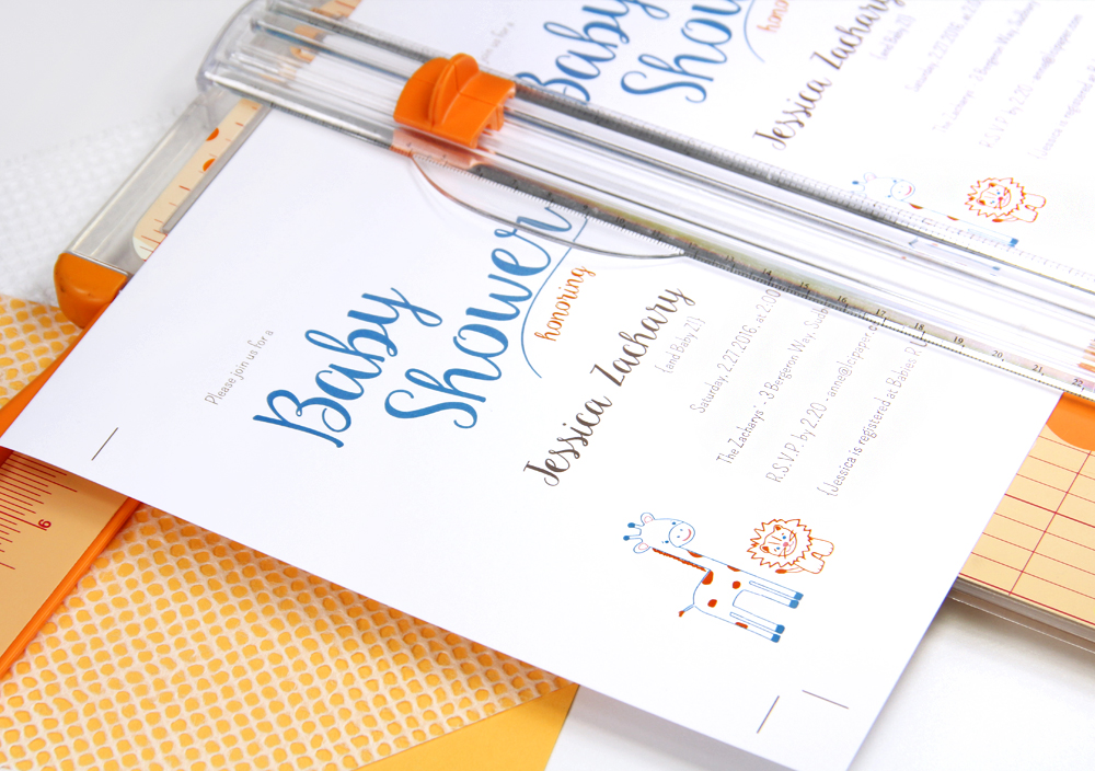 Baby shower invitation by LCI Paper featured in Craft Ideas Magazine. Cut 2-up cards from 8 1/2 x 11 card stock