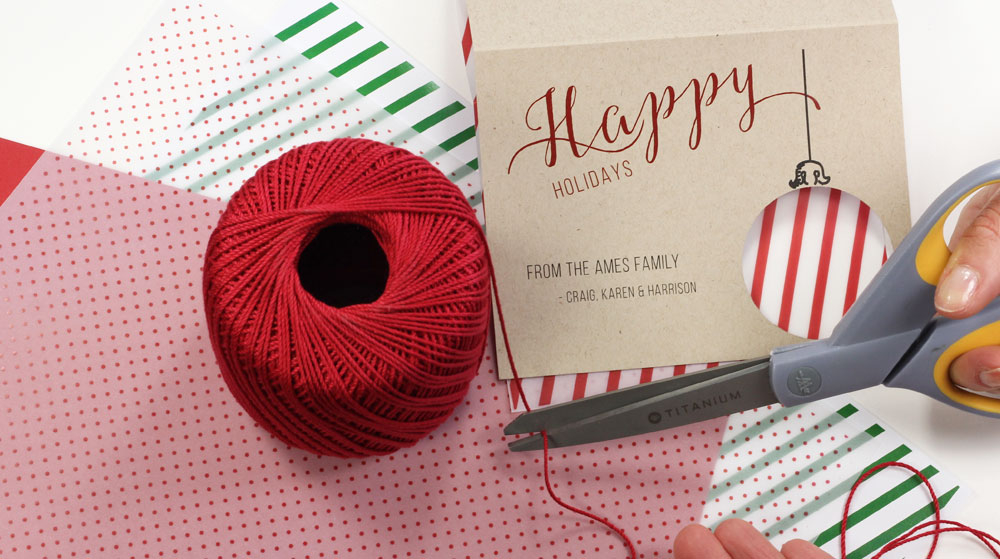 Tie card and pattern paper together for hand made holiday card