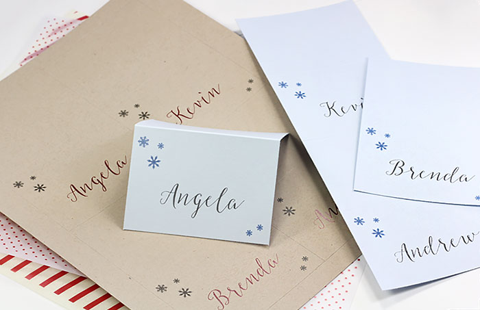Easy print, pre-scored, micro-perforated tent-style place cards for holidays