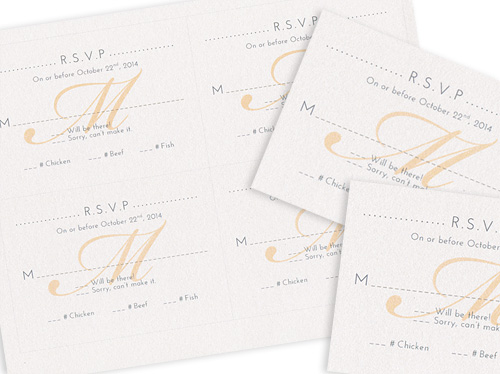 4 up rsvp cards with monogram