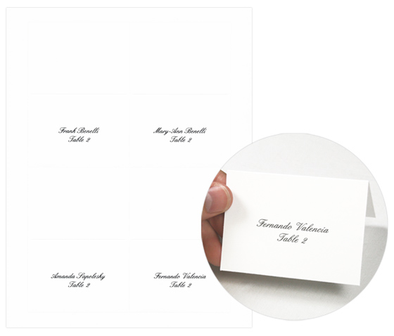 4Up place cards white