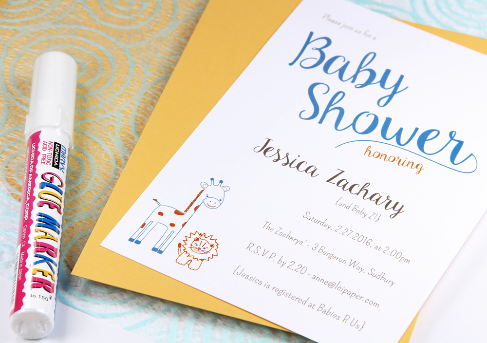 Baby shower invitation featured in Craft Ideas Magazine by LCI Paper. Layer with A7 card