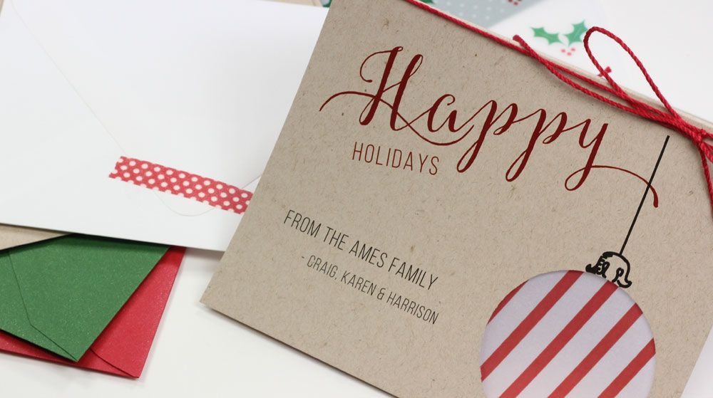 Handmade holiday ornament cutout card tutorial featured on All Things Paper blog