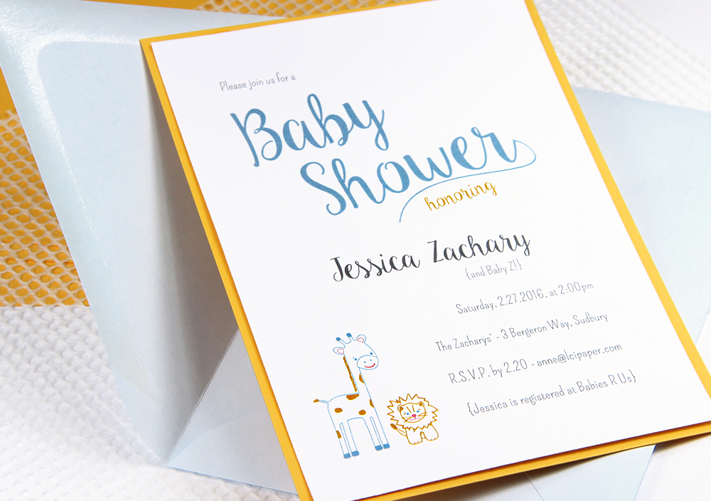 DIY baby shower invite with baby jungle animal theme in Craft Ideas Mag