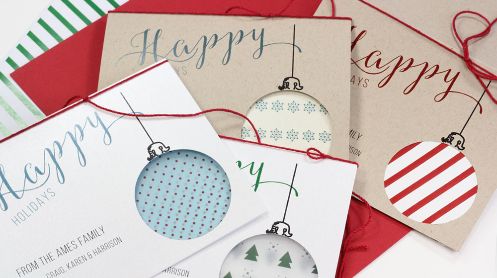 Handmade, customizable holiday ornament cutout cards tutorial featured on All Things Paper blog
