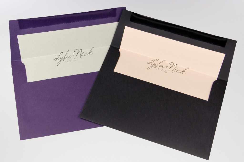 A7 custom liners, Gmund Colors Grape Smooth, Gmund Colors Ebenum Smooth