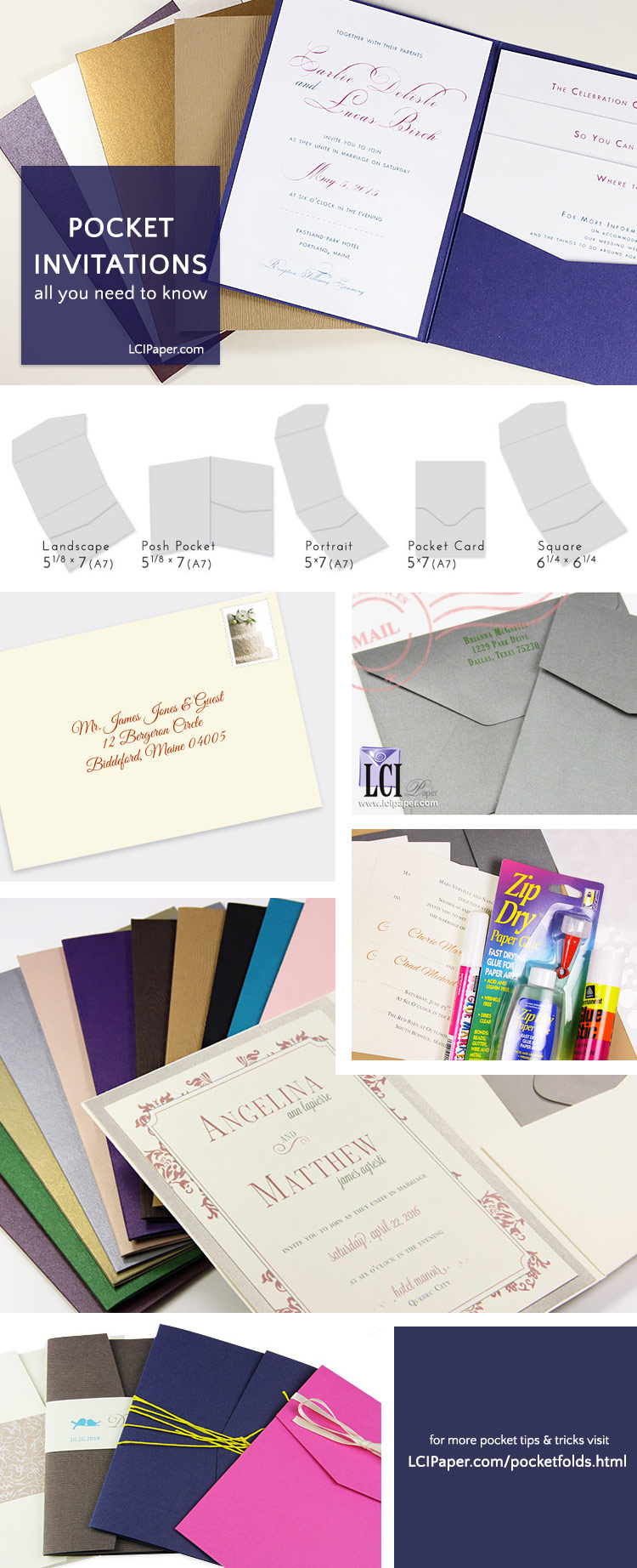 Make your own pocket invitation tips & tricks collage. Links to helpful articles on assembling, mailing, addressing, design.