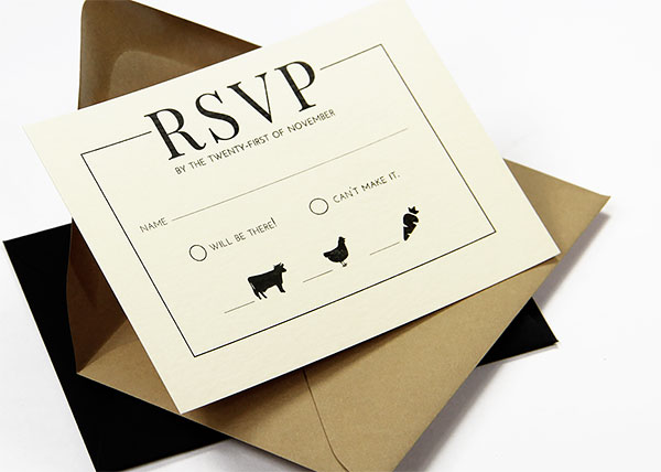 Small 3x5 standard wedding rsvp card size