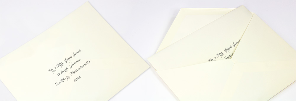 properly addressed inner and outer wedding envelopes