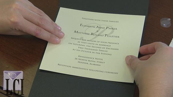 Adhere Invitation Card To Center Panel Of Pocket Envelope