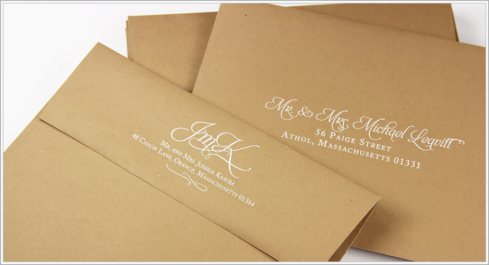 White addresses on kraft envelopes - submit your own custom artwork and fonts
