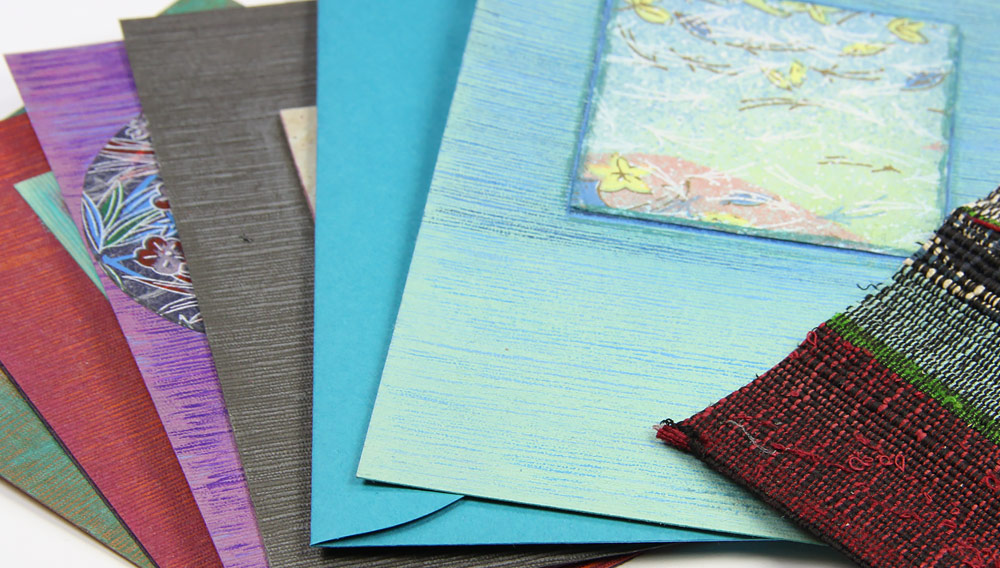 Array of Japanese linen cards by Kalli Halpern