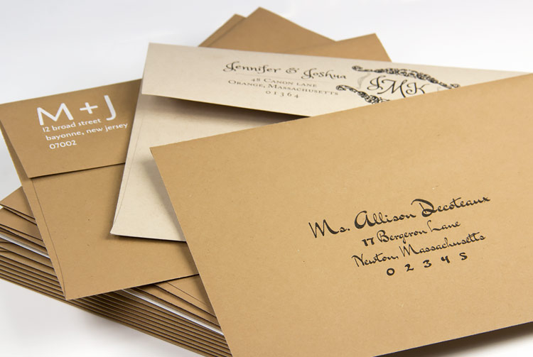 Order kraft invitation envelopes with full addressing service from LCIPaper.com