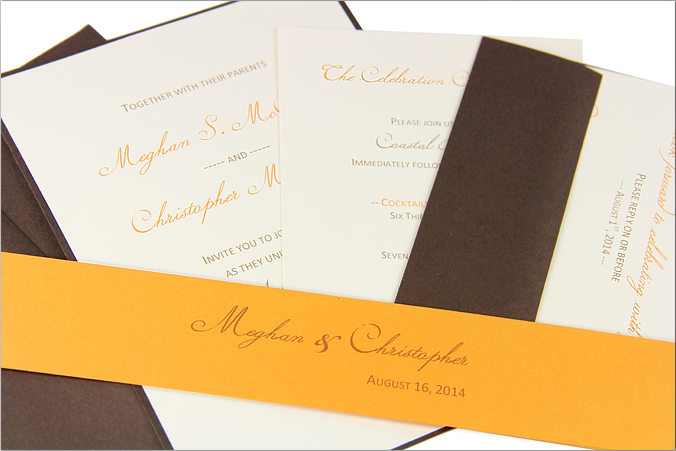 ecru wedding invitation cards with brown and tangerine text