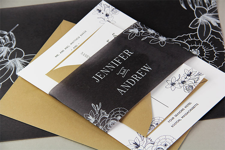 Black and white floral wedding invitation wrapped in black vellum band, made by LCIPaper.com