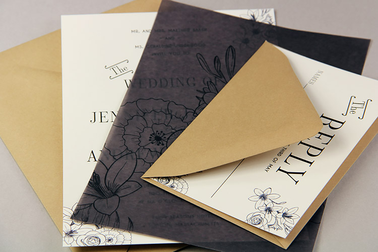 Black and cream floral invitation with black vellum divider sheet, made by LCIPaper.com