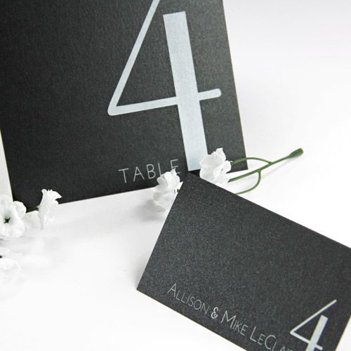 Matching wedding place cards and table cards printed in white at LCI Paper