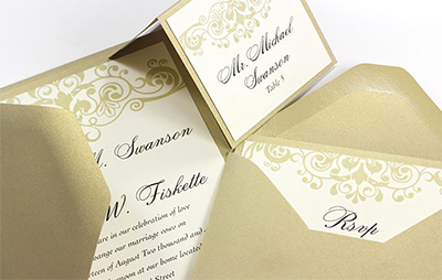 Photo of invitation suite with bleeds
