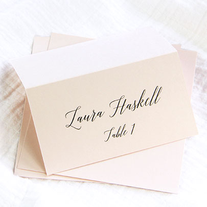 Blush pink place cards with calligraphy font | LCI Paper