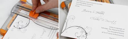 cut off border of invitation card for borderless design