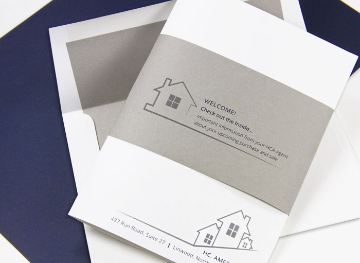 Real estate package made with luxury paper & stone pre-lined envelope