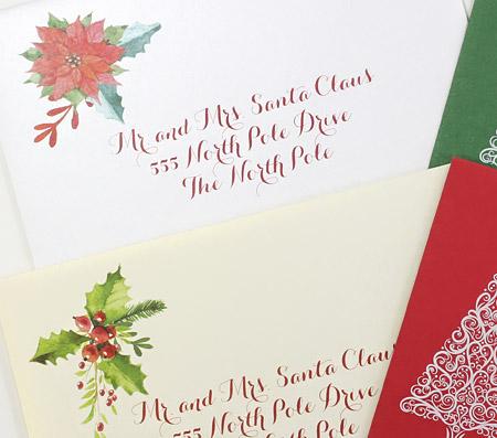 Poinsettia design holiday envelopes