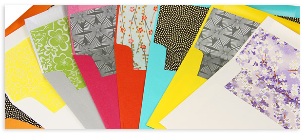 array of chiyogami hand lined envelopes