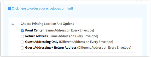 Select location of envelope printing