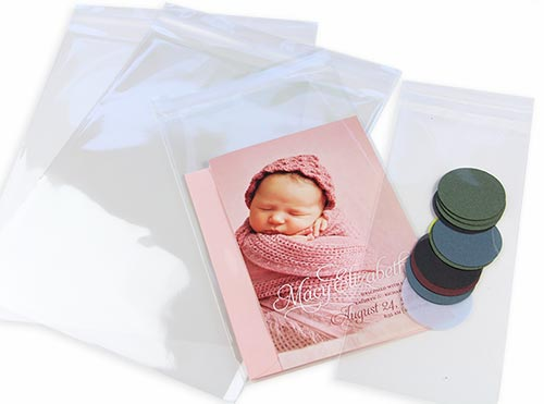 Crystal clear bags for stationery, photos, art.