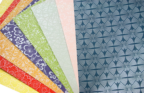 colorful variety of decorative pearlized Japanese papers