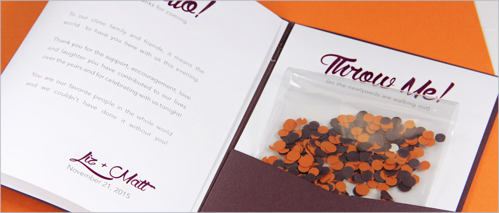 """Place confetti and """"throw me"""" card in pocket - pocket program tutorial on LCIPaper.com"""