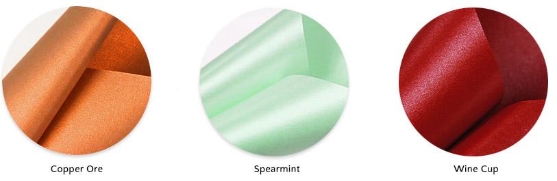 Aspire Petallics copper ore, spearmint, wine cup paper colors
