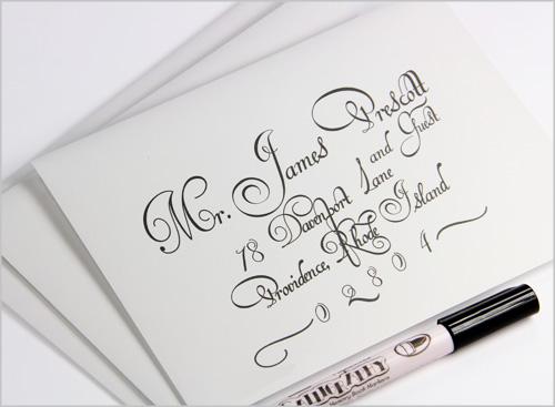 calligraphy addressed wedding envelopes