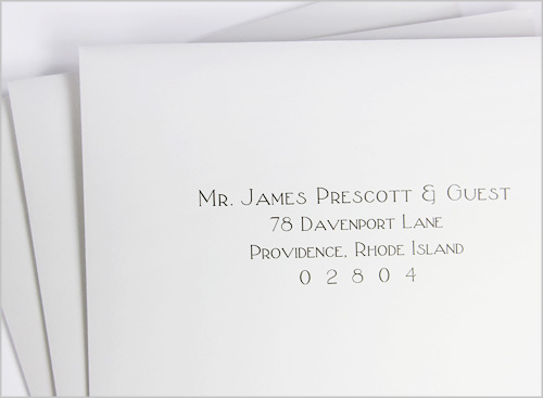 machine printed and addressed wedding envelopes