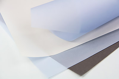 Translucent vellum paper with curled ends