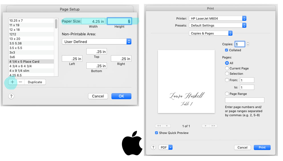 How to create a custom page size and print using Microsoft Word on a Mac