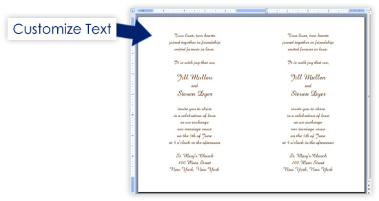 Word invitation printing template customize text