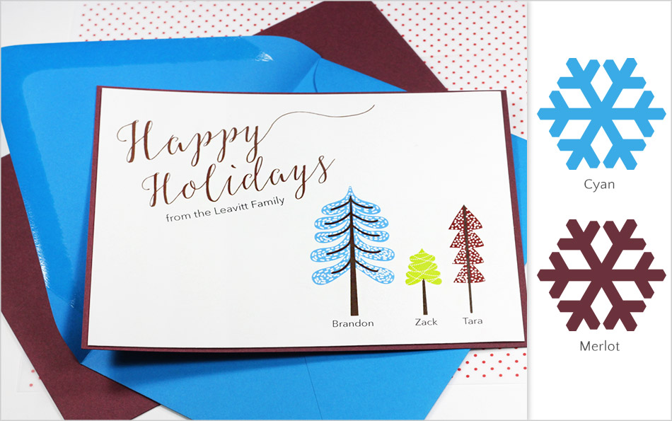 Cyan and merlot holiday card made with Gmund Colors matte finish card stock - offbeat holiday color combinations