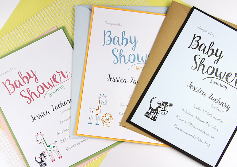 DIY baby shower invites with baby jungle animal theme in Craft Ideas Mag