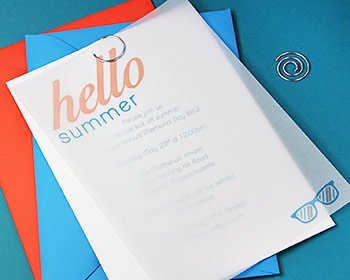Simple DIY vellum invitation for a summer party with hello summer motif