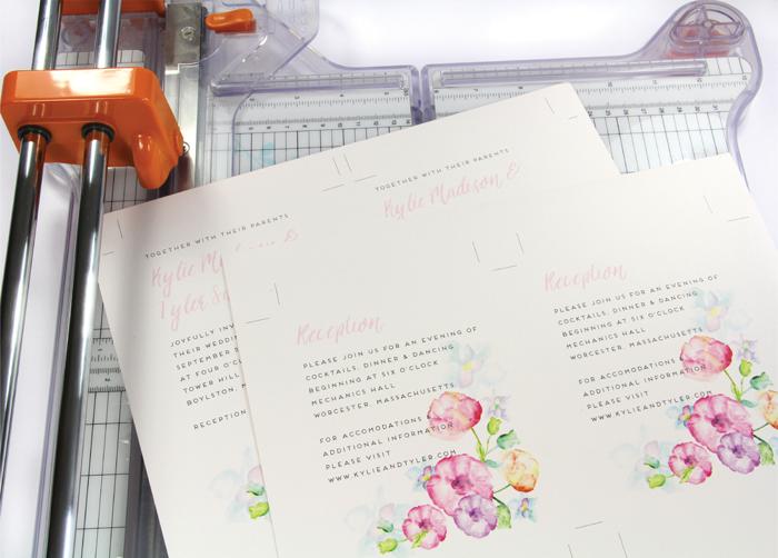 print invitation 2 to a sheet then cut