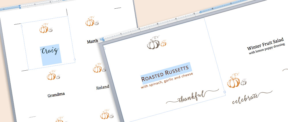 Download and edit free printable thanksgiving place card and table card templates