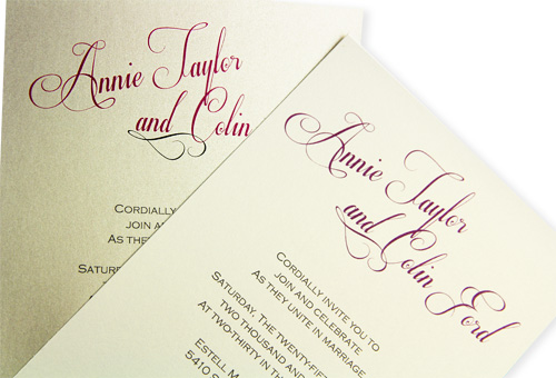 DIY wedding invitations with calligraphy look, printed in color