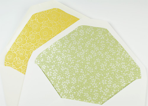 envelopes lined with decorative pearlized paper