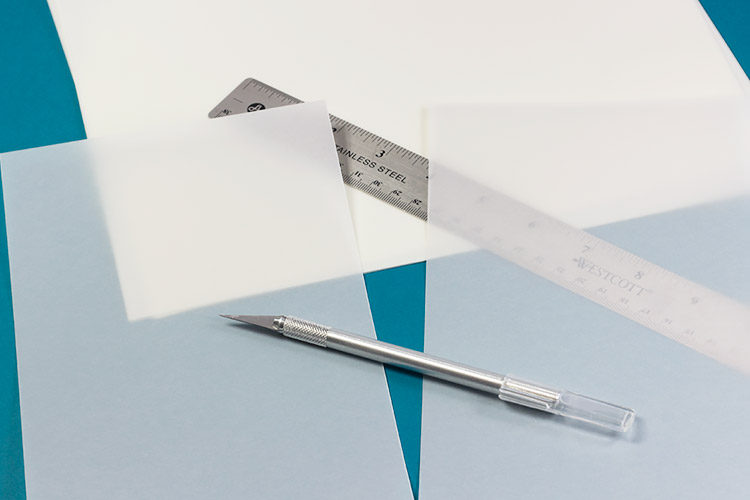 Translucent vellum paper cut with sharp exacto knife